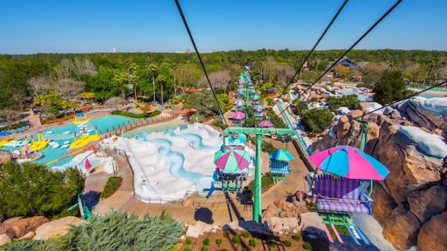 The view from the chairlift offers a look at some of the water park's attractions