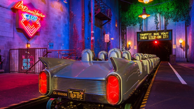 The back of a stretch limo coaster car at the Rock 'n' Roller Coaster Starring Aerosmith