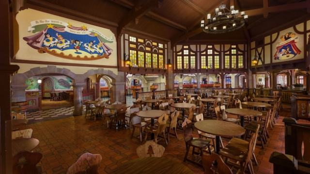 Main seating area inside Pinocchio Village Haus at Magic Kingdom park