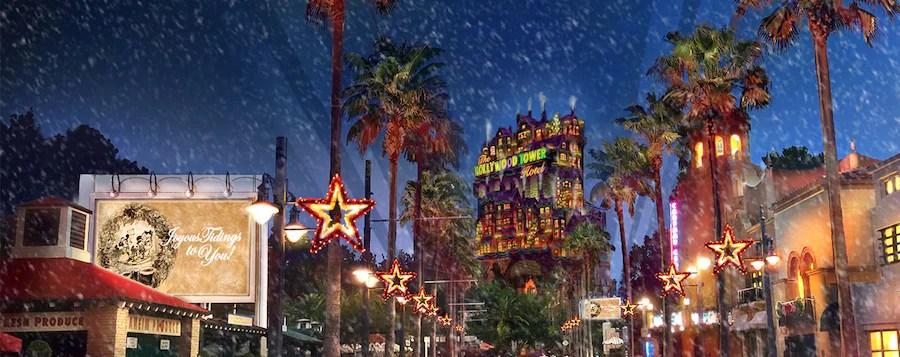 Conceptual artwork of snow falling during Sunset Seasons Greetings at Disney's Hollywood Studios
