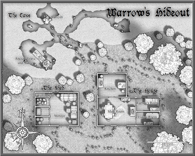 Warrow's Hideout - Black and White Example Map