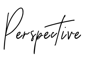 "handwritten font which reads ""perspective"""