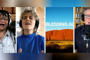photo depicts a collage of uluru and three different singers from the blessing australia video