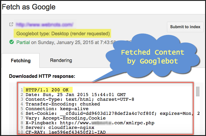 Fetch as Google to identify seo spam