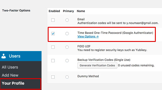 Adding 2-Factor verification using Google Authenticator to WordPress