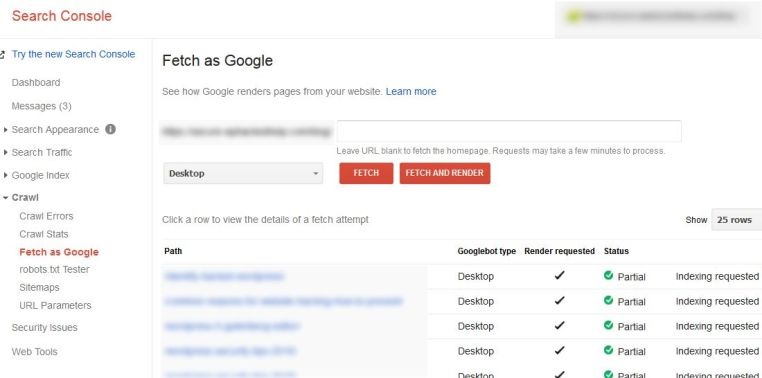 Search Console - Fetch as Google