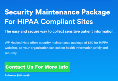 HIPAA Compliant site security maintainence package