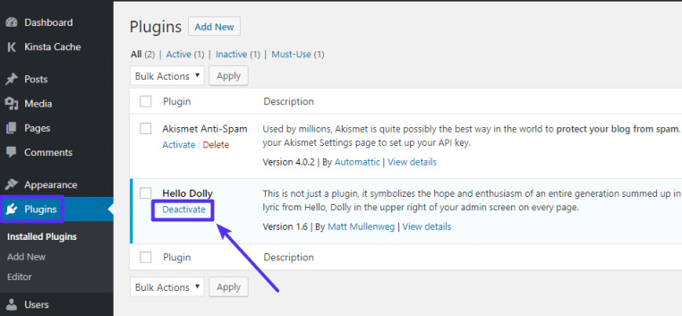 disable wordpress plugins