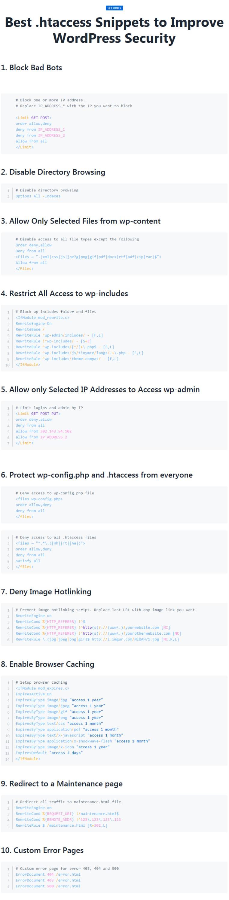 Make WordPress website secure with .htaccess snippets