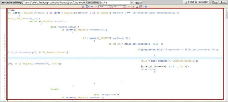 function.php file after attack WP-VCD-malware