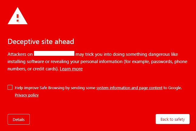 Deceptive site ahead wordpress