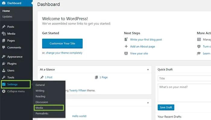 WordPress-Settings-Media-Menu