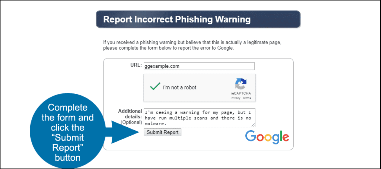 file a report for an incorrect phishing warning Google
