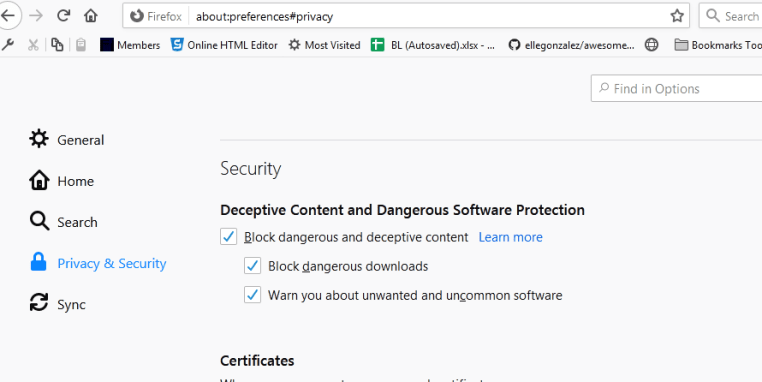 unsecure site warning settings firefox deceptive site ahead settings fix