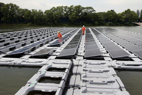 Singapore's floating solar panels are seen in this screenshot.