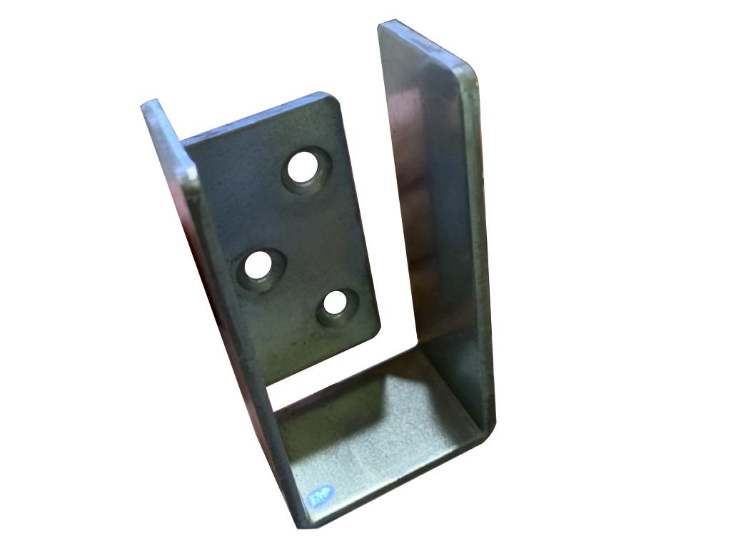 Galvanized Steel 2x4 bar holder end cap for door barricade, stair rail, or floor joist front view