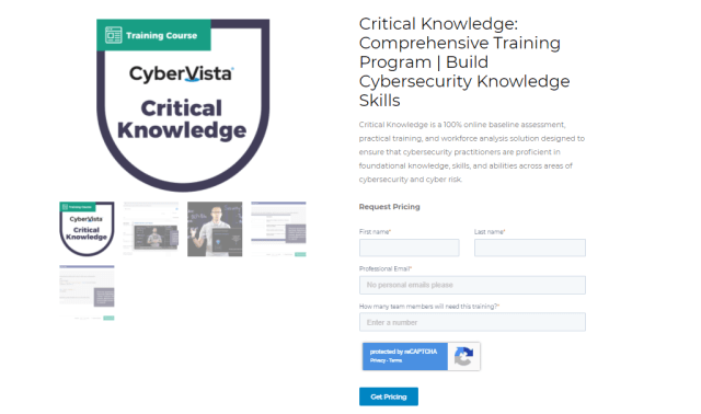 Cybervista cybersecurity training pricing plans
