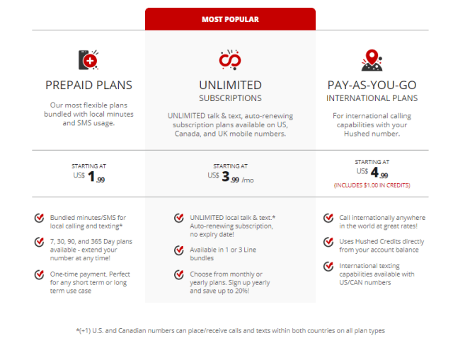 Hushed Pricing Plans Subscriptions