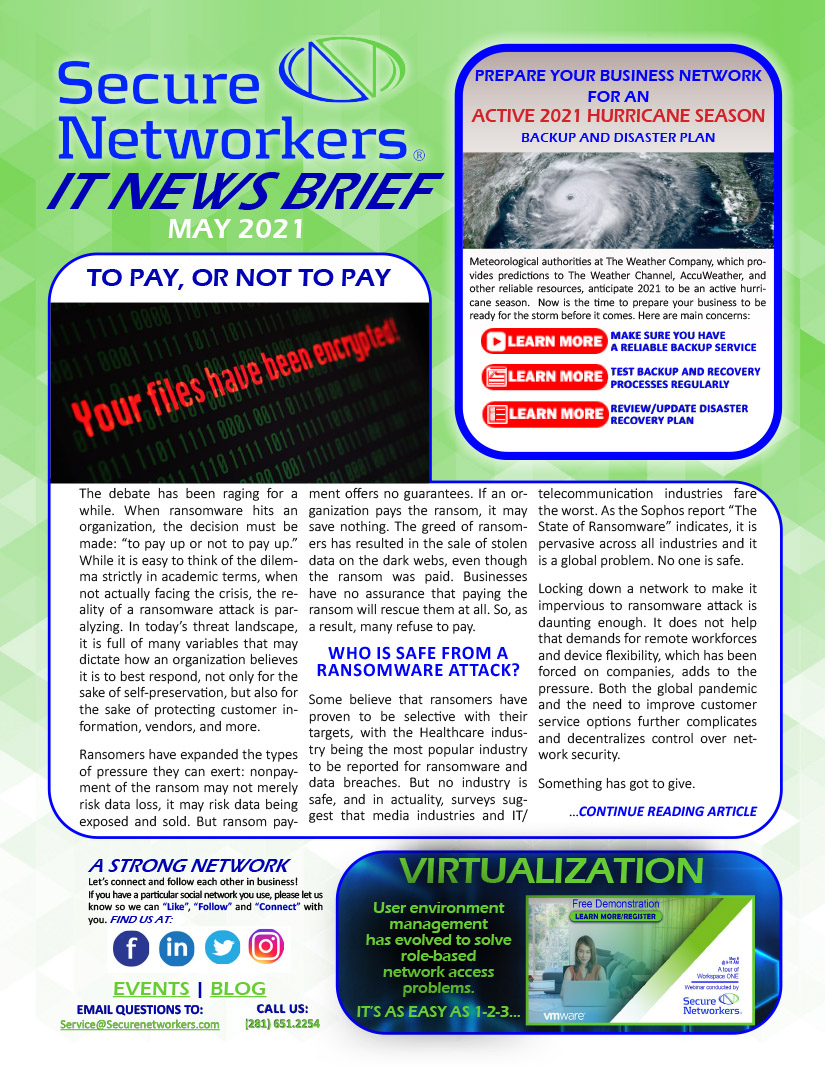 IT News Brief May 2021 Lead Story: Ransomware Decision