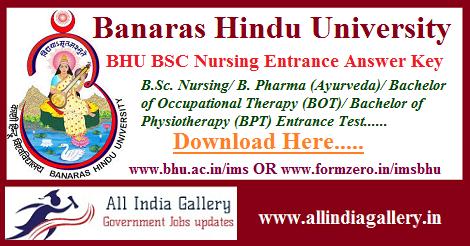 BHU BSC नर्सिंग प्रवेश उत्तर कुंजी