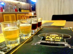 A variety of beer samples, from light to dark. I'm led to believe that humans judge each other's worth based on the colour of their beer. Apparently only the sturdiest of souls opt for the dark stuff. If you ask me, the light beers are just as robust, at least in terms of flavour.