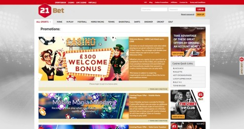 21bet casino offers