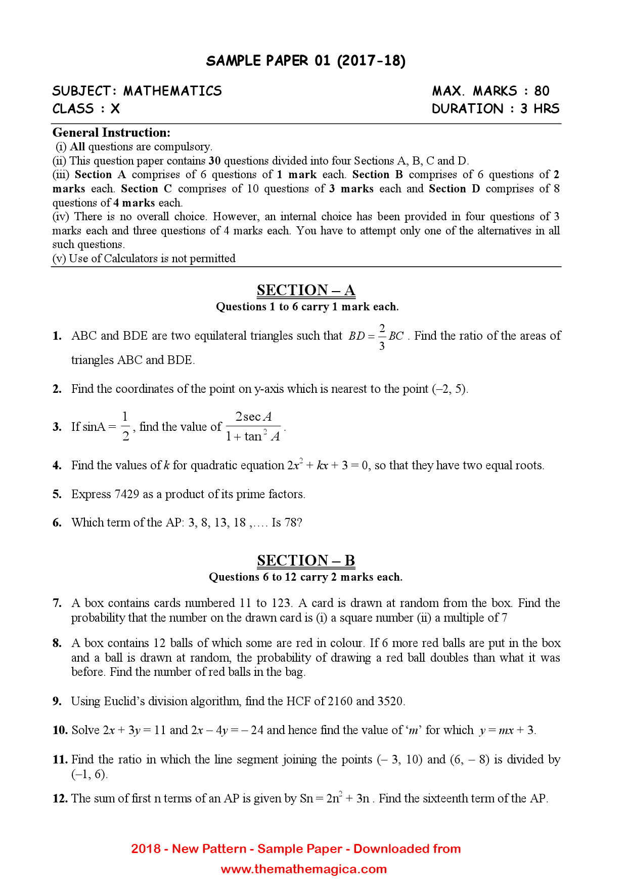 10th Cbse Sample Papers