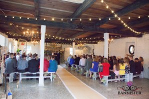 Rainy day ceremony by the fire in the barn
