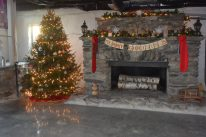 The massive 12' working fireplace is perfect for a winter wedding