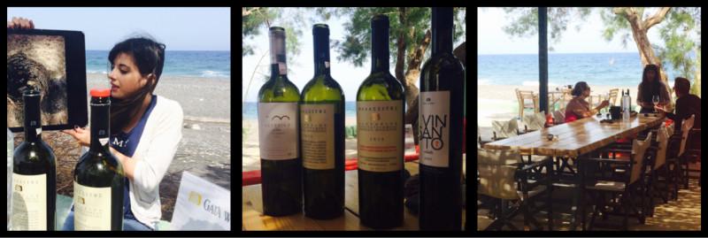 Thalia explaining the vine's basket; Gaia Wines; The location Thera Santorini Greece