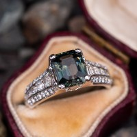 A Gorgeous Emerald Cut 3 Carat No Heat Sapphire Engagement Ring