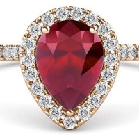 A Gorgeous Pear Cut Ruby and Round Diamond 1 1/2 ctw Halo  Ring 14K Rose Gold