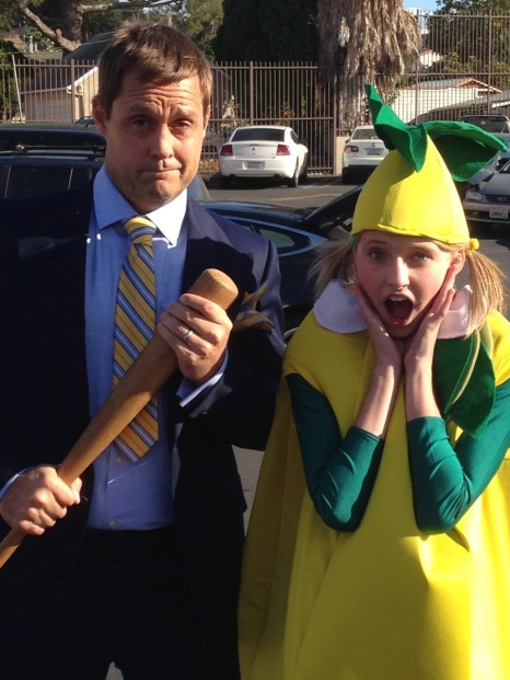 """Gianna as a """"little lemon"""" and her onset dad on Maker Shack"""