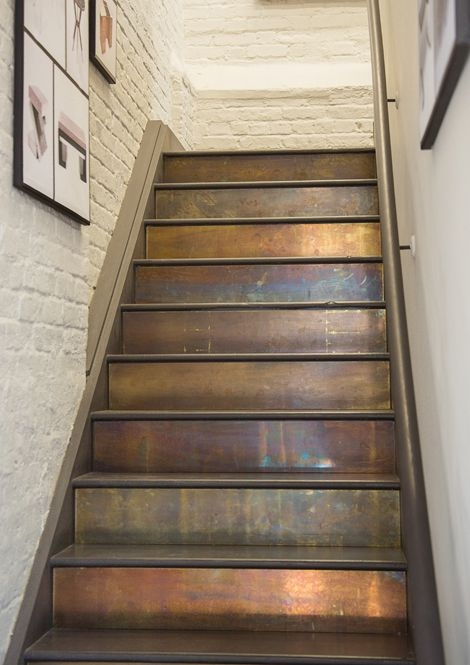 Stair Risers That Rise To The Occasion Girlfriend Is Better | Hardwood Steps And Risers | Gray Painted | Cherry Wood | Hardwood Floor | Timber | White
