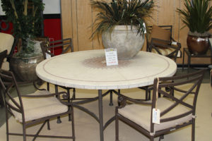 round stone top patio table with