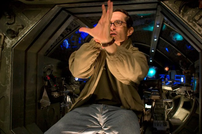 David Twohy, directing aboard the merc ship, TCOR, 2003.