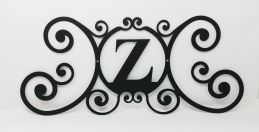 Wrought Iron Monogram Wall Plaque Letter Z