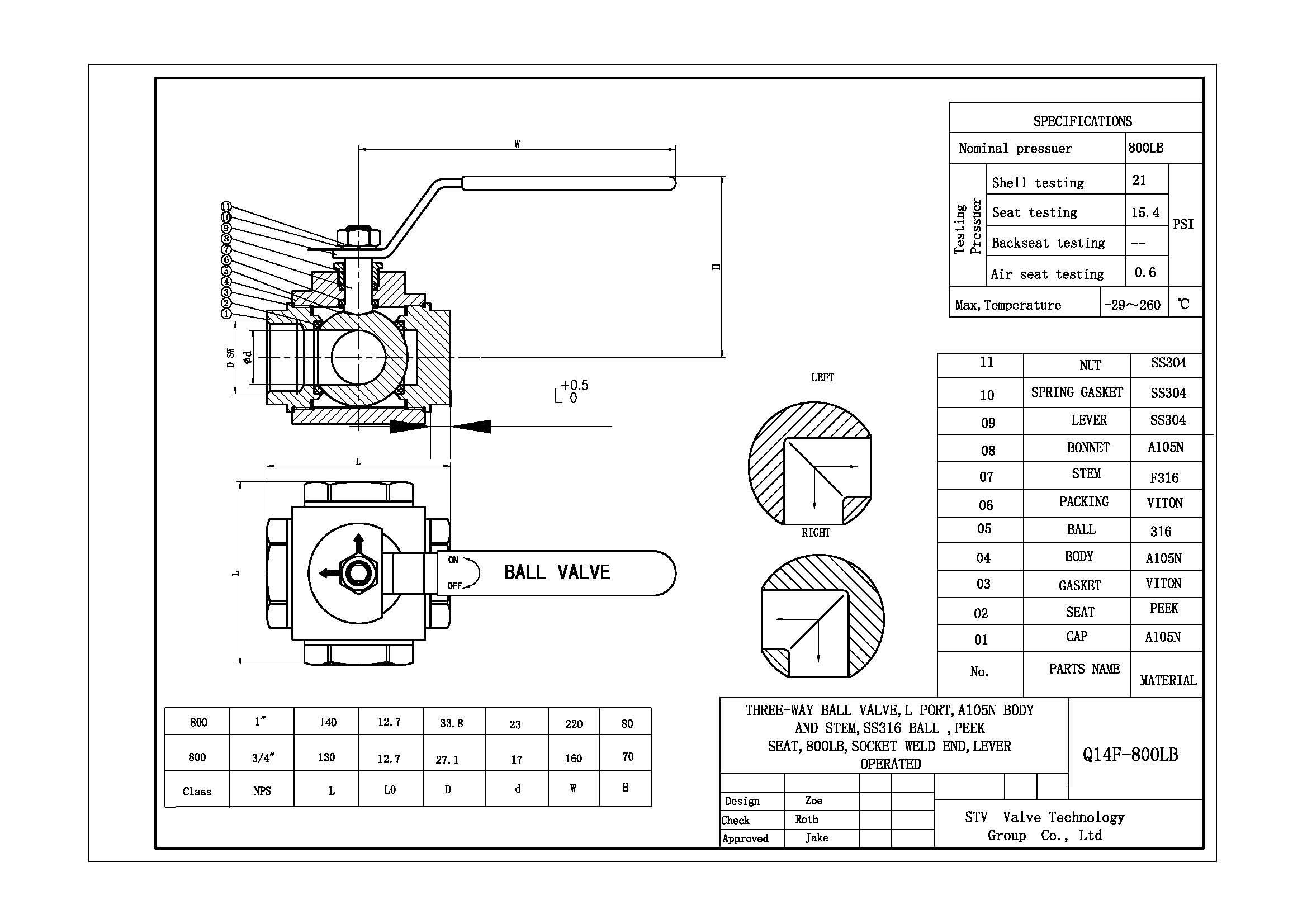 High Pressure 3 Way Ball Valve T Type Dn25 800lb China