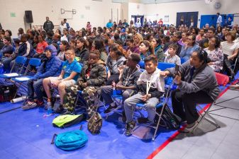 Students fill the gym to hear from STEM leaders, educators, astronauts and fellow students.