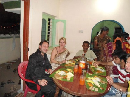 Dinner with my little brother and the guys at work ... wedding time in Tamil Nadu.