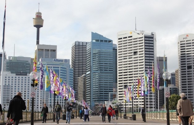 Pyrmont Bridge to city center in Sydney, Australia
