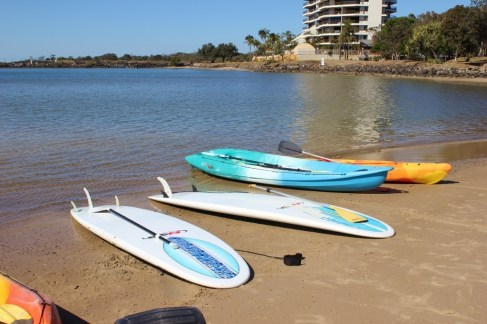 Stand up paddle boards on shore in Coolangatta, Gold Coast, Australia