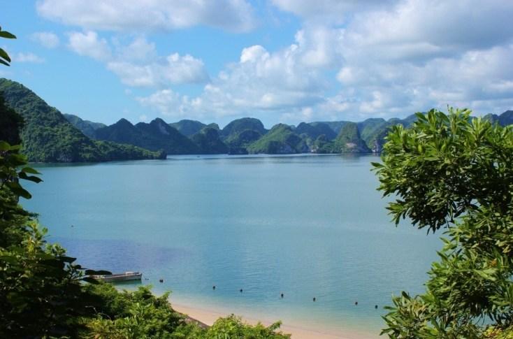 Beach for swimming on Halong Bay, Vietnam