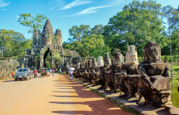 Churning of the Ocean of Milk bridge at Angkor Thom at Angkor Park in Siem Reap, Cambodia