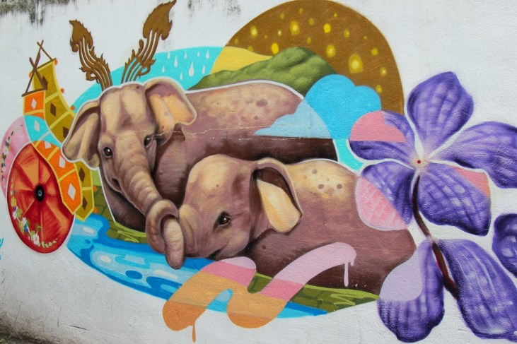 Colorful elephant street art in Chiang Mai, Thailand