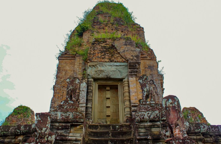 Main tower sprouting foliage at Pre Rup temple at Angkor Park in Siem Reap, Cambodia