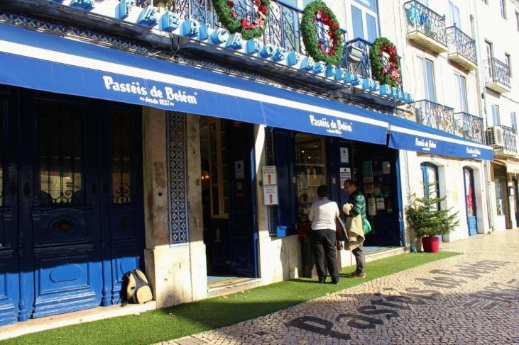 Pasteis de Belem historic pastry shop with famous custard egg tarts in Belem near Lisbon, Portugal