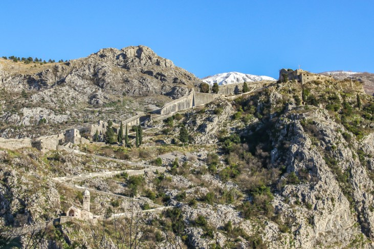 Looking up at the hiking trail in Kotor, Montenegro