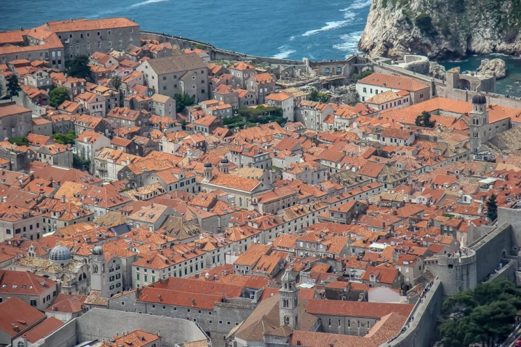 Old Town View taken with zoom lens from Mount Srd in Dubrovnik, Croatia